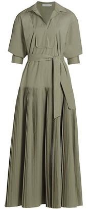 Jonathan Simkhai Arlo Pleated Poplin Pleated Maxi Dress