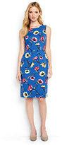 Lands' End Women's Tall Sleeveless Ponte Sheath Dress-Bright Boreal Blue Floral