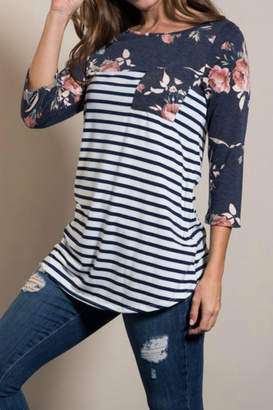 Lovely J Floral Sleeve Top