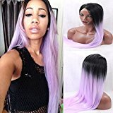 EO Wigs Synthetic Lace Front Wigs Ombre Purple Straight Heat Resistant Fibers (18 inches)