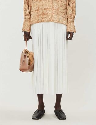 The Row Magdita pleated woven midi skirt