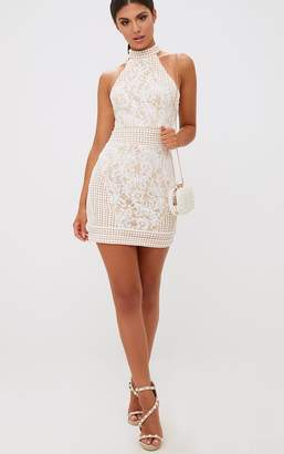 PrettyLittleThing White High Neck Lace Crochet Bodycon Dress