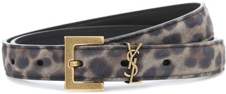 Saint Laurent Monogram leopard-print suede belt