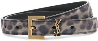 Saint Laurent Monogram leopard-print suede belt