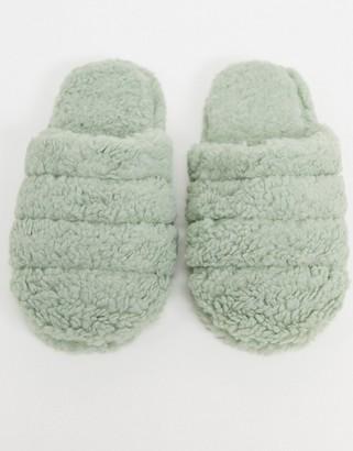 ASOS DESIGN Zoe quilted slipper slides in sage green