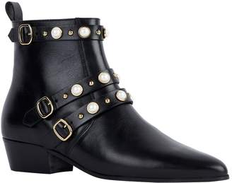 Claudie Pierlot Leather Embellished Buckle Boots