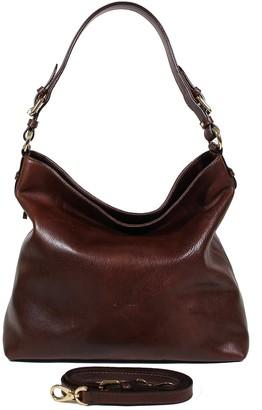 Chiarugi Dark Brown Genuine Leather Shoulder Bag