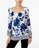 INC International Concepts Petite Printed Flounce Top, Only at Macy's