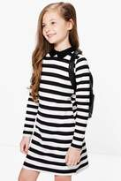 boohoo Girls Striped Collar Dress