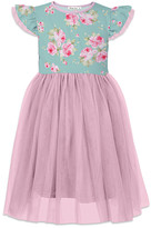 Orchid Lane Girls' Special Occasion Dresses - Turquoise & Pink Floral Angel-Sleeve A-Line Dress - Toddler & Girls