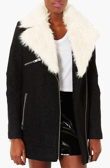 Topshop Removable Faux Fur Zip Detail Coat