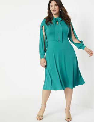 ELOQUII Tie Neck Slit Sleeve Dress