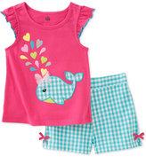 Kids Headquarters Baby Girls' 2-Piece Gingham Whale Shirt & Shorts Set