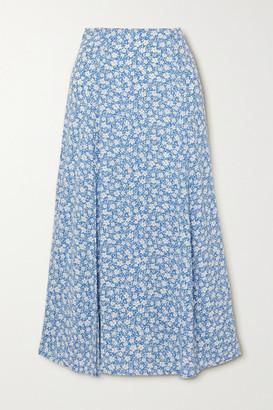 Reformation Zoe Floral-print Crepe Midi Skirt - Light blue