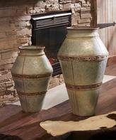 Galvanized Metal Vase Set