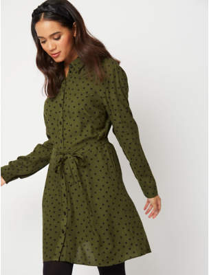George Khaki Spot Print Belted Shirt Dress