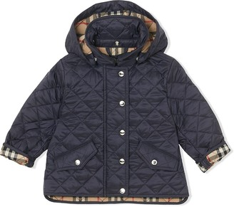BURBERRY KIDS Detachable Hood Diamond Quilted Jacket