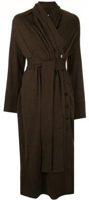 AKIRA NAKA Wrap Style Knitted Dress