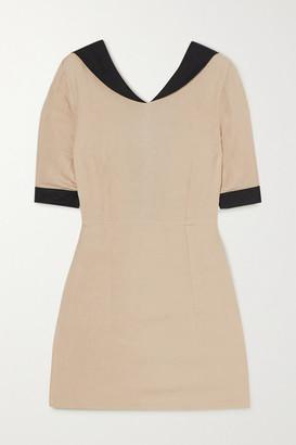 USISI SISTER Alex Two-tone Linen-blend Mini Dress - Ecru