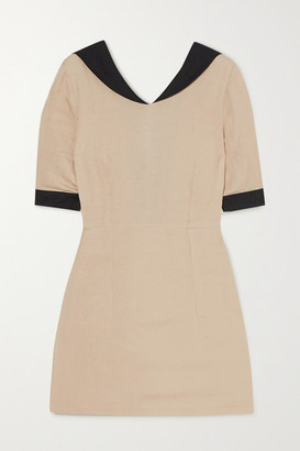 Usisi Sister Alex Two-tone Linen-blend Mini Dress