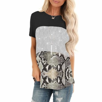 Wudube WUDUDE Women's Casual T Shirts O Neck Snake Sequin Tunic Elegant Tops Bronze Snake Pattern Splicing Short Sleeve Top