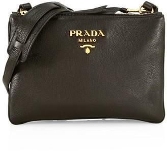 Prada Daino Double-Zip Leather Crossbody Bag