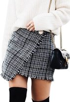 Berrygo Women's Vintage Plaid Asymmetrical A-line Pencil Mini Skirt Woolen