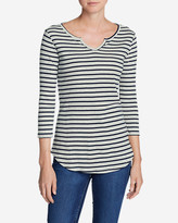 Eddie Bauer Women's Favorite Notched Neck 3/4-Sleeve Top - Stripe