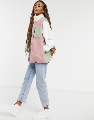 Daisy Street relaxed vest in color block teddy