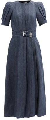 Gabriela Hearst Patricia Pleated Linen-twill Dress - Denim