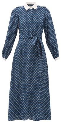 Shalini Beulah Floral-print Silk Midi Dress - Womens - Blue Print
