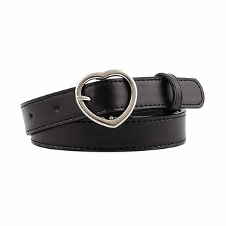 BeltKings Women Thin Belt with Heart Shaped Buckle PU Leather Waistband for Casual Jeans dresses Black