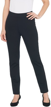 LOGO by Lori Goldstein Stylist Ponte Slim Leg Pant w/ Back Pockets