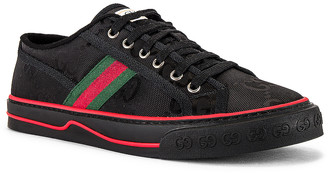 Gucci Tennis 1977 Low Top Sneaker in Black/Black/Green & Blue | FWRD