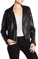 French Connection Asymmetric Zip Grainy Faux Leather Jacket