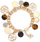GUESS Gold-Tone Pave & Tortoise-Look Charm Bracelet