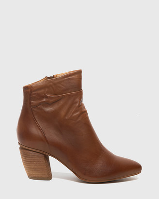 Wittner - Women's Brown Heeled Boots - Attius Leather Block Heel Ankle Boots - Size One Size, 38 at The Iconic