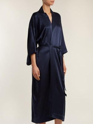 CHUFY Embroidered Silk Kimono-style Jacket - Navy