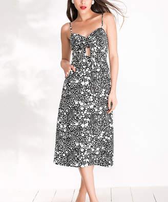 Milan Kiss Women's Casual Dresses BLACK-WHITE - Black & White Spots Keyhole Sleeveless Dress - Women