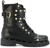 Twin-Set geometric studs combat boots - women - Leather/rubber - 36