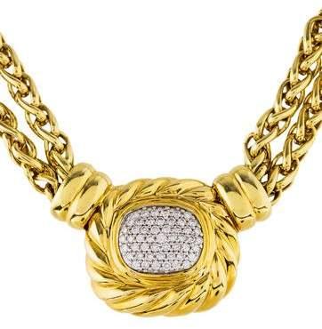 David Yurman 18K Diamond Albion Pendant Necklace