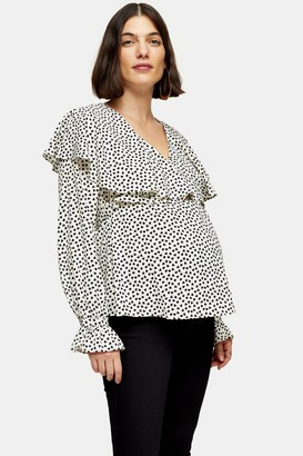 Topshop Womens **Maternity Black And White Heart Long Sleeve Angel Blouse - Monochrome