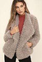 Billabong Do It Fur Love Grey Faux Fur Coat