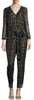 Kate Spade long-sleeve metallic silk chiffon jumpsuit, Black/Gold