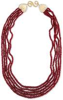 Splendid Five-Strand Smooth Ruby Necklace