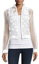 Elie Tahari Suri Embellished Floral Silk Bomber Jacket