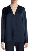 Vince Embroidered-Stitch V-Neck Shirt