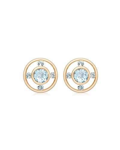 Kiki McDonough Forget Me Not 18k Gold & Blue Topaz Stud Earrings