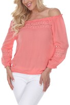 Thumbnail for your product : White Mark Women's Smocked Neckline Peasant Top