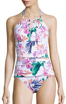 Tommy Bahama Orchid Canopy High Neck Halter Shirred One-Piece